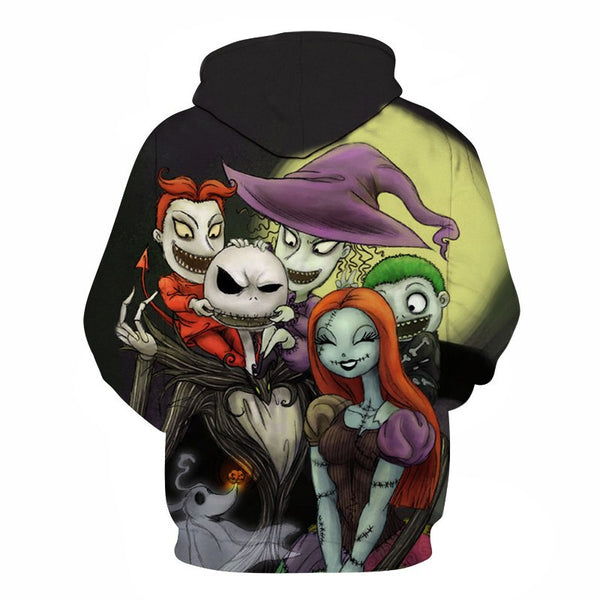 3D Printed Nightmare Before Christmas Hooded Sweatshirt