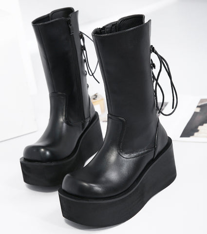 Mid Calf Wedge Platform High Heel Punk Gothic Boots