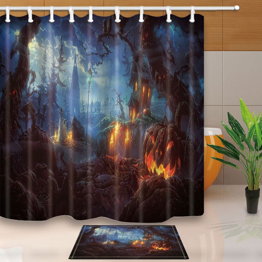 Halloween Shower Curtain with Mat