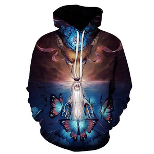 Colorful Animal Print 3D Pullover Hoodie