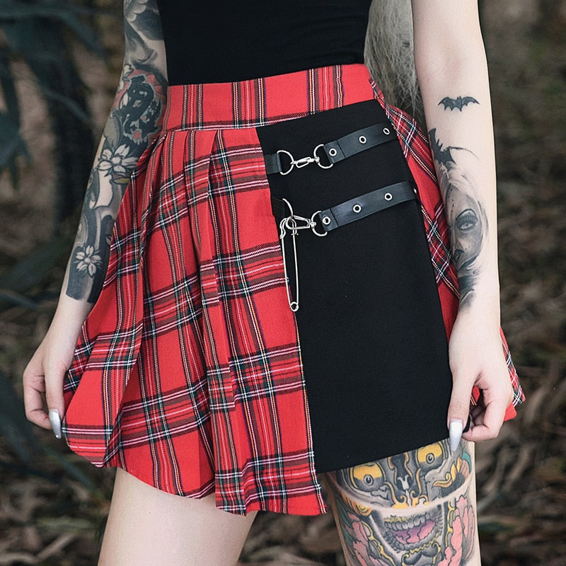 Gothic Plaid Punk Mini Skirt