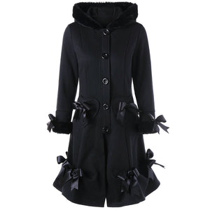 Vintage Black Lace BowKnot Hooded Coat