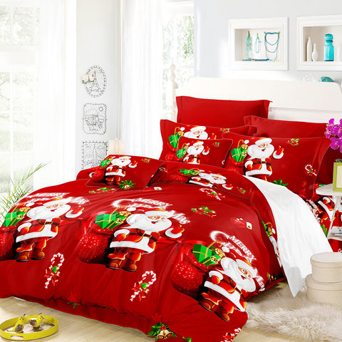 3 pc Santa Christmas 3D Print Bedding Duvet Sheet Set