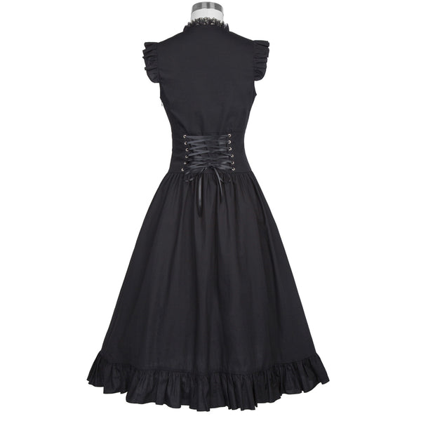 Black Punk Gothic Lace-up Corset  Victorian Dress