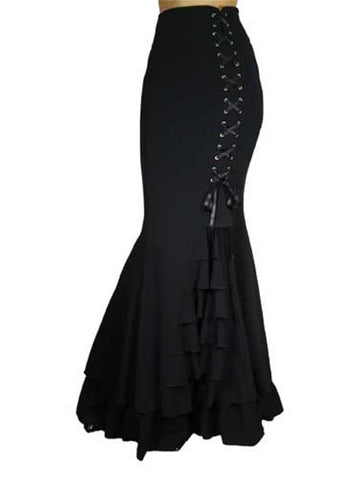 Long Frilly Fishtail Gothic Corset Lace-Up Slim Floor-Length Skirt