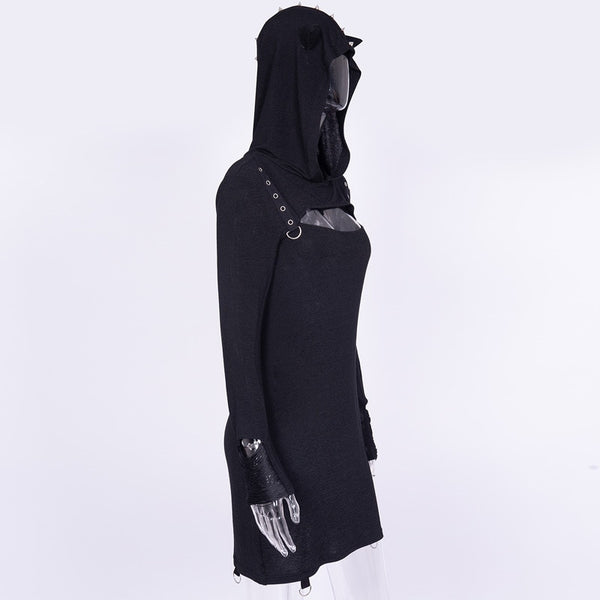 Gothic Steampunk Cat Ears Rivet Hooded Dress