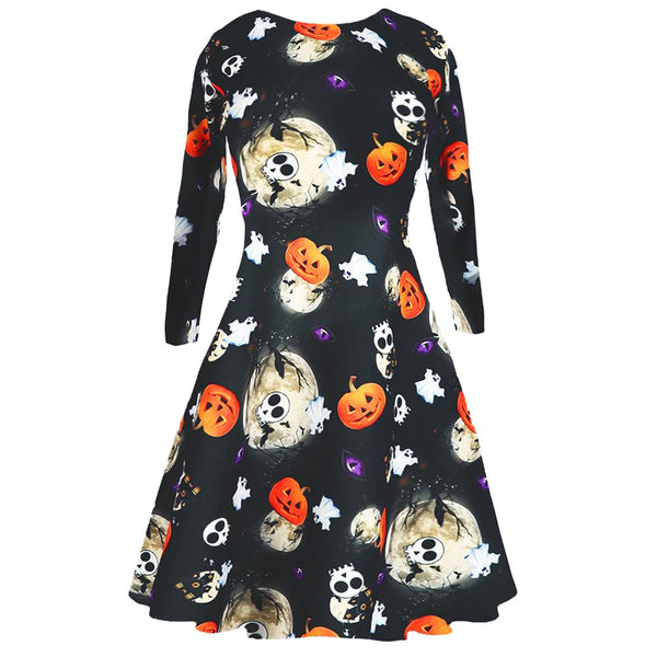 Pumpkin Skull Moon Dress