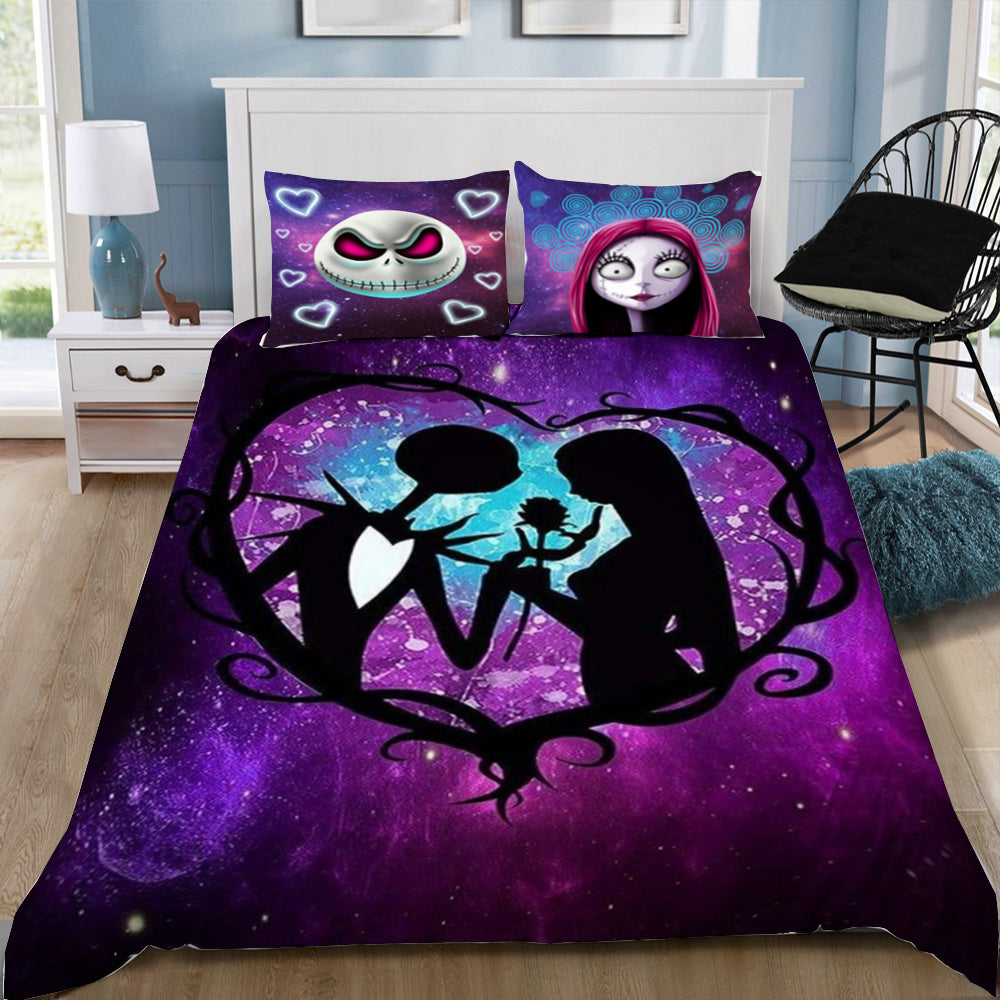 2-3pcs 3D Nightmare Before Christmas Galaxy Together Forever Bedding