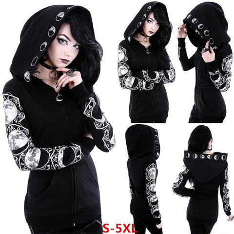 Moon Phases Long Sleeve Hooded Sweatshirt