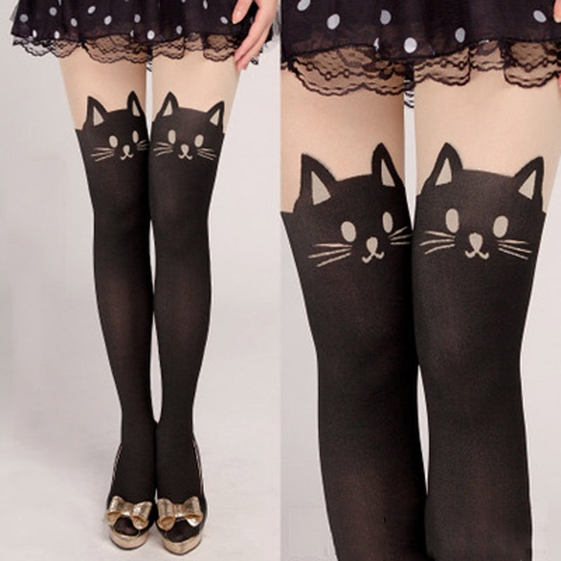 Stretch Tights Cat Print Stockings