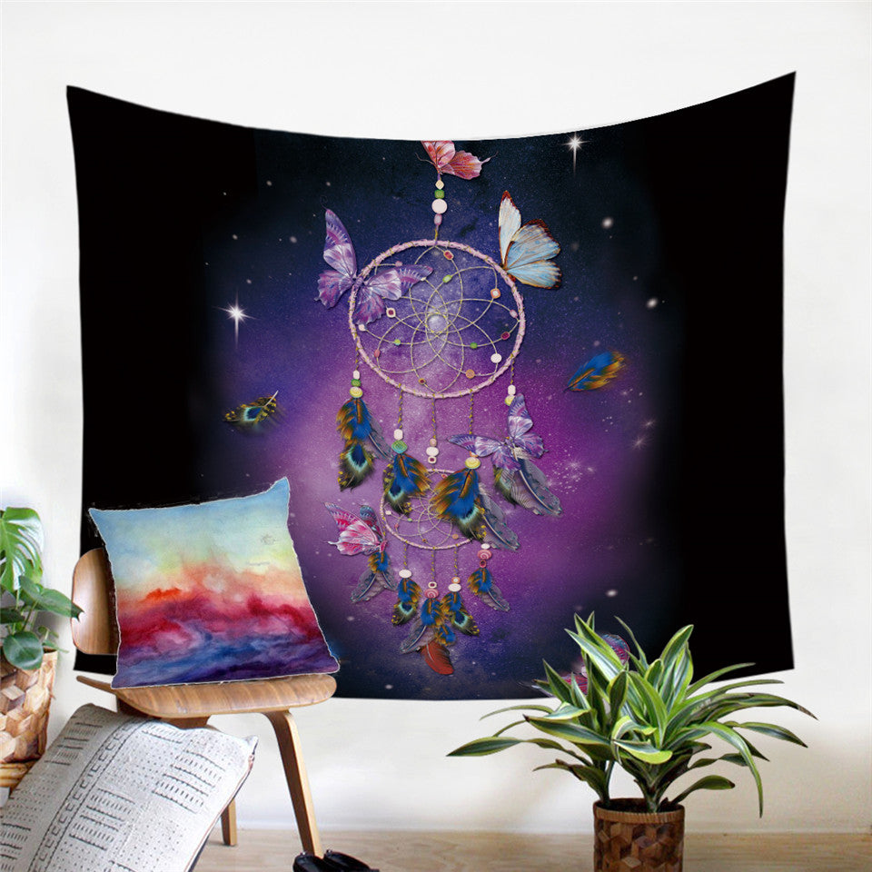 Dream Like Butterfly  Dreamcatcher Microfiber Decorative Wall Tapestry