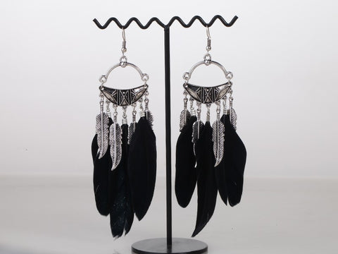 Black Feather Designer Fashion Earrings