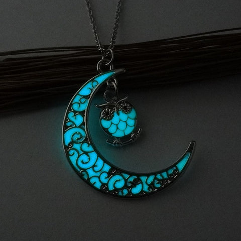 Glow in the Dark Moon & Owl Necklace