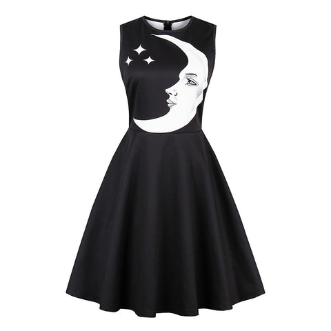 Black Print Crescent Moon Casual Dress