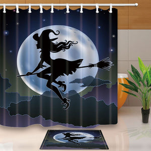 Halloween Witch Shower Curtain with Mat