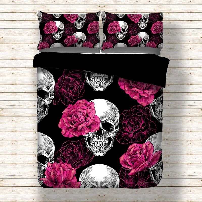 3pcs Black Rose Skull Gothic Bedding Set