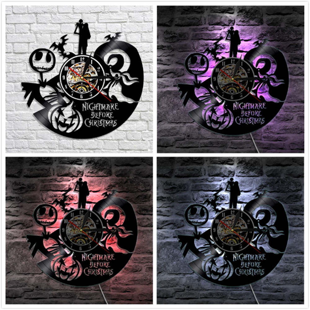 The Nightmare Before Christmas LED Lights Vinyl Wall Clock