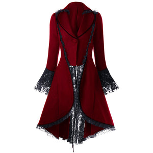 Gothic Lace-Up High Low Coat Winter Coat Jacket