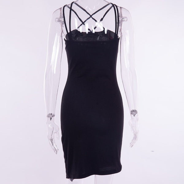 Gothic Black Slim Asymmetric Dress