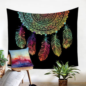Boho Feathers Colored Dreamcatcher Microfiber Decorative Wall Tapestry