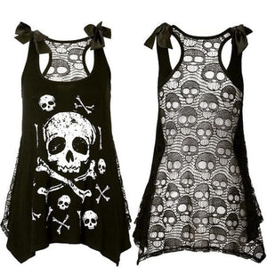 Skull Lace Gothic Mini Dress