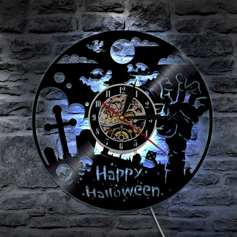 7 Color 3D LED Happy Halloween Luminous Wall Clock