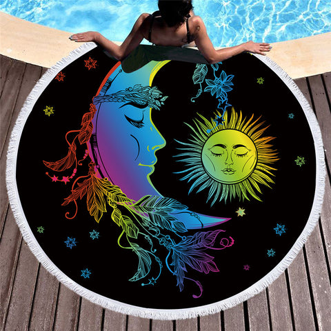 Colorful Sun Moon 150cm Round Beach Towel