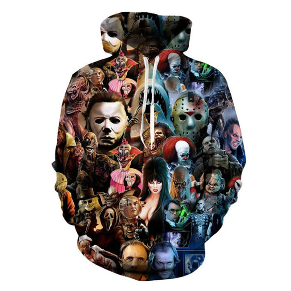 Horror Characters Pull Over Hooded Sweatshirt