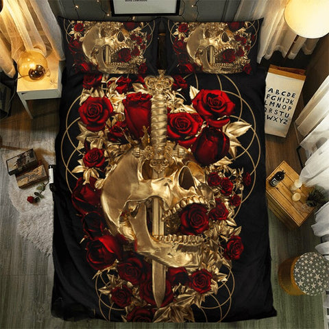 Skull and Roses 3D Printed Fanaijia Gothic Style Bedding