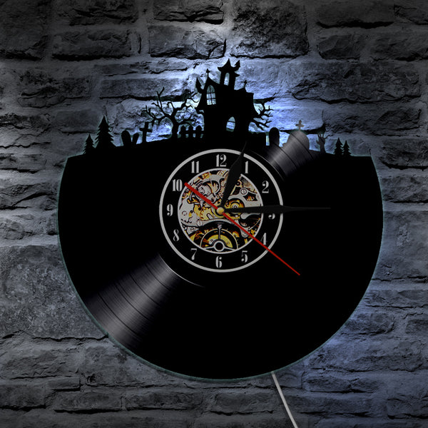 7 Color 3D LED Haunted House Vinyl Wall Clock