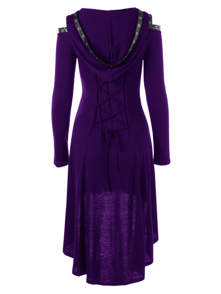 Lace up Long Sleeve Hooded Gothic Dress