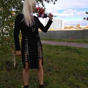 Lace Up Long Sleeve Black Gothic Dress