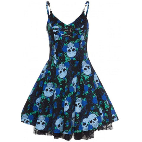 Gothic Skull Lace Mini Dress