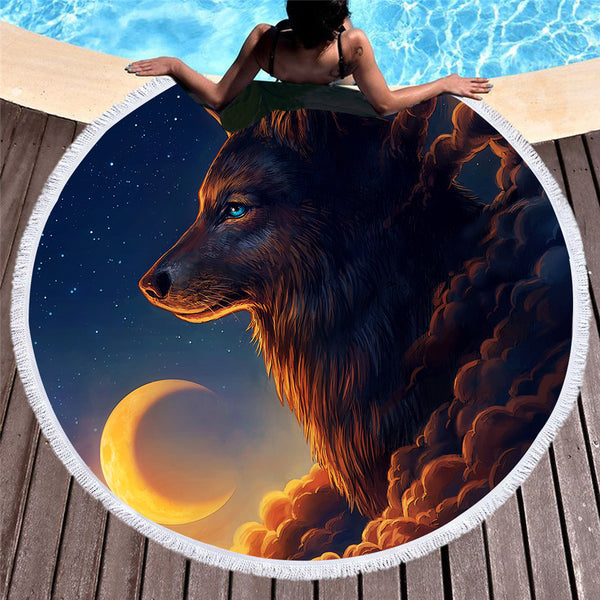 Night Guardia by JoJoesArt  Round Beach Towel