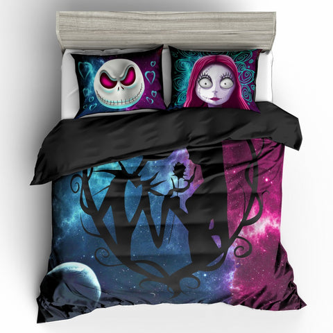 3pcs 3D Nightmare Before Christmas Jack & Sally Galaxy Bedding