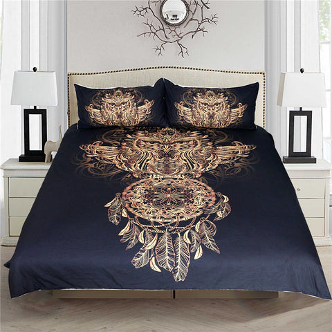 3pc Golden Owl Dreamcatcher Bedding Set