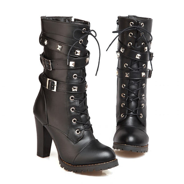 Rivet Buckle High Heel Lace up Gothic Style Ankle Boots