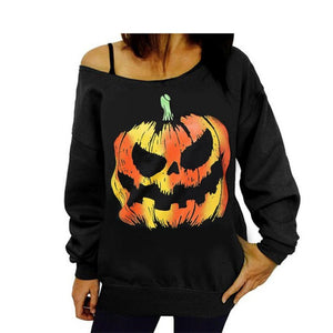 Pumpkin Print Long Sleeve Sweatshirt