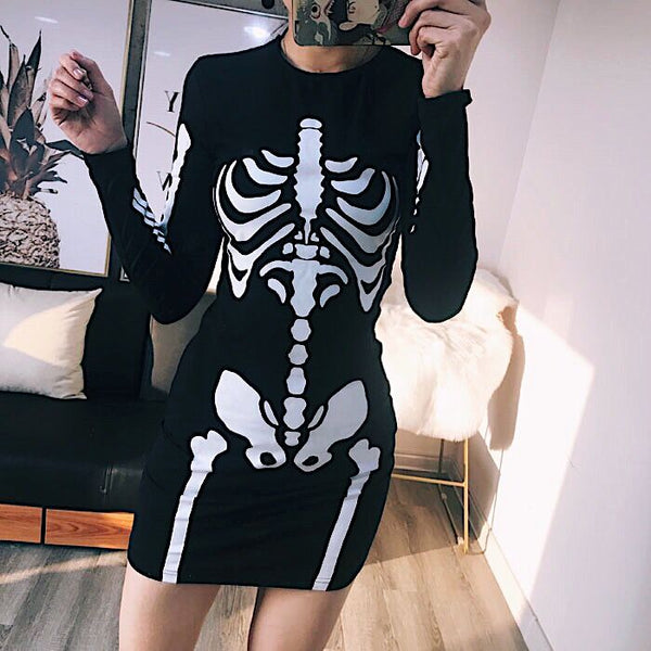Skeleton Printed Gothic Long Sleeve Dress