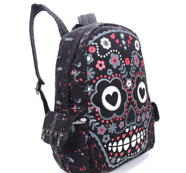 Sugar Flower Printed Skull Gothic Punk Backpack Bag