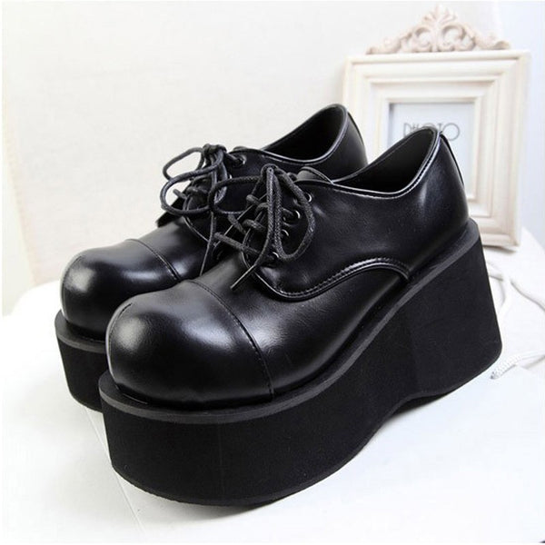 Women Ankle Platform Wedge Creeper Lace Up Gothic Boots Shoes