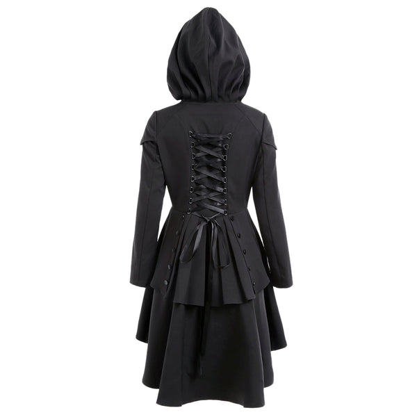 Criss Cross Zaful Layered Lace Up High Low Hooded Coat Jacket