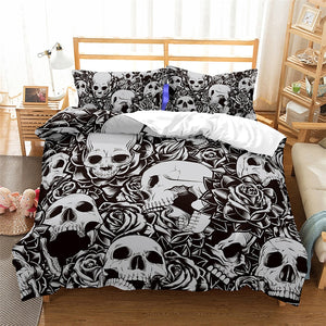3pcs 3D Print Skull Rose Bedding