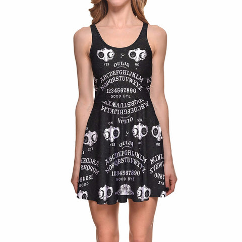 Ouija Number and Letter Yes No 3D Print Reversible Sleeveless Gothic Dress