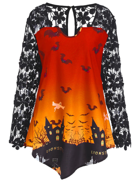 Halloween Lace Casual Top