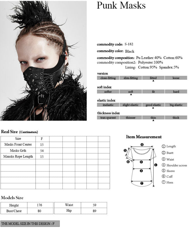 Punk Rave Brand Gothic Steampunk Women Pink Mask