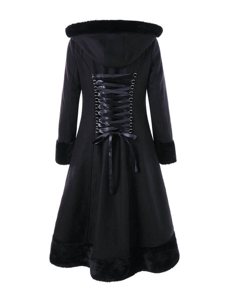 Gothic Black Hooded Lace Up Jacket