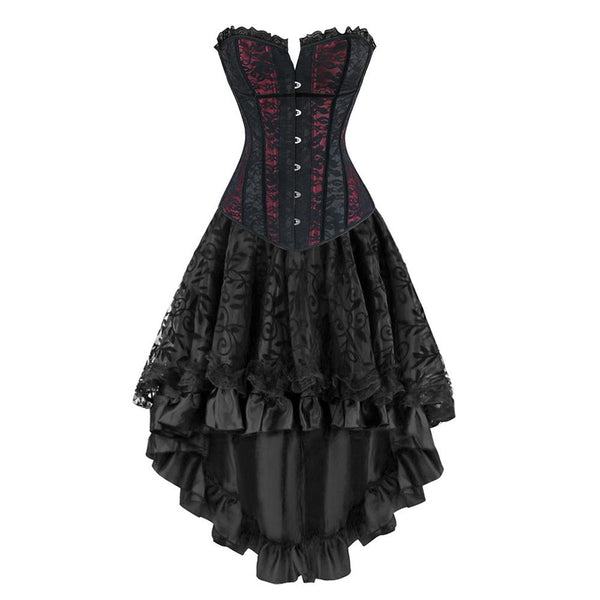 Gothic Burlesque Lace Corset Skirt Set Steampunk Bustier Costume