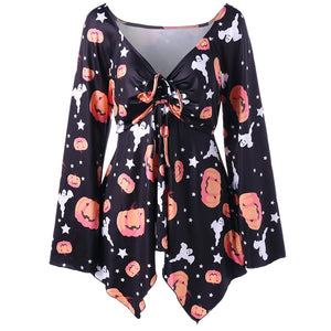 Halloween Pumpkin Print Shirt