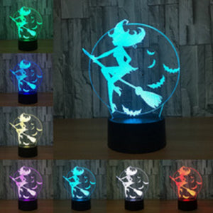 7 Color 3D LED  Acrylic Witch Table Lamp
